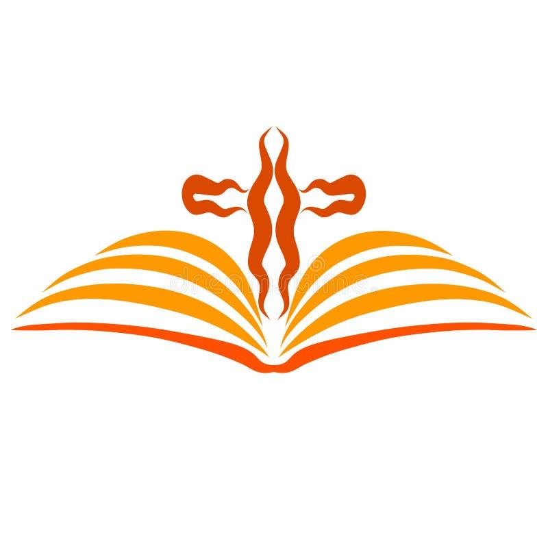 象的一部开放圣经鸟翼和一个波浪十字架 库存例证