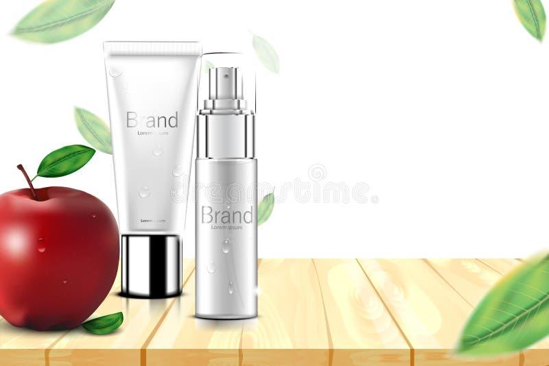 豪华化妆瓶包裹皮肤护理奶油,秀丽化妆品在白色后面和叶子在木隔绝的海报、苹果 库存例证