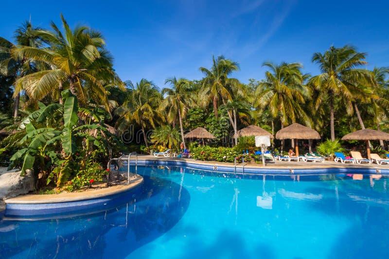 豪华游泳场风景在RIU龙舌兰酒旅馆在普拉亚德尔卡曼,墨西哥 库存图片