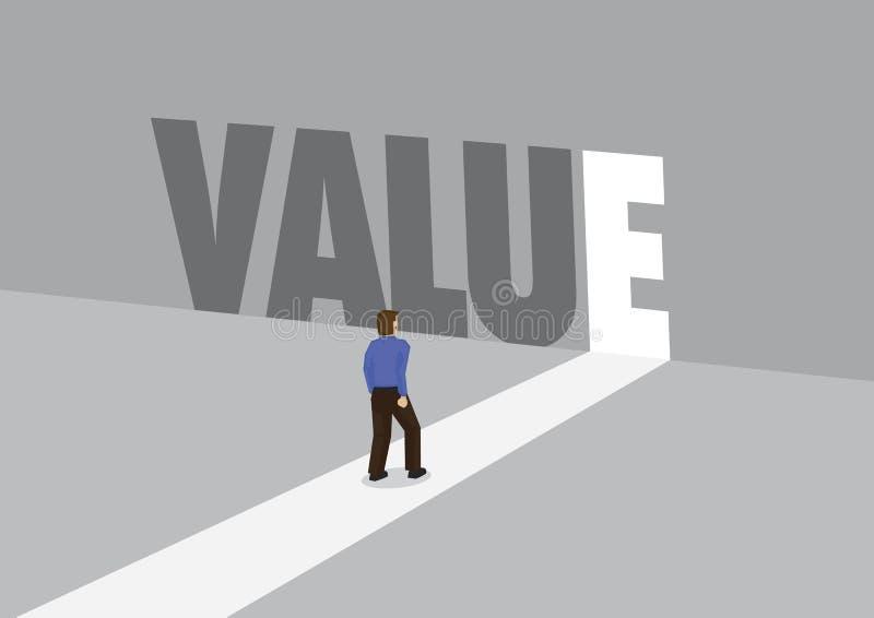 走向有文本价值的一条轻的道路的商人 公司价值的企业概念 库存例证