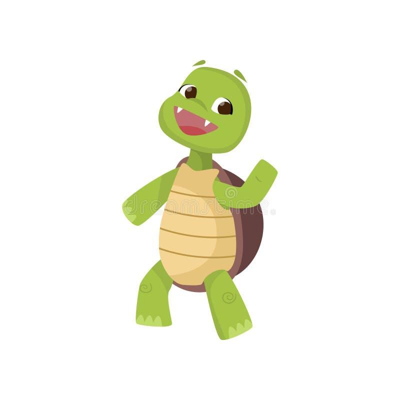 走在两后腿和挥动的手的愉快的逗人喜爱的微笑的绿海龟隔绝在白色背景 皇族释放例证