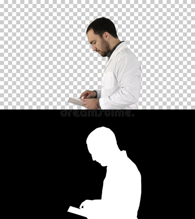 走和使用数字片剂,阿尔法通道的男性医生画象 免版税库存图片