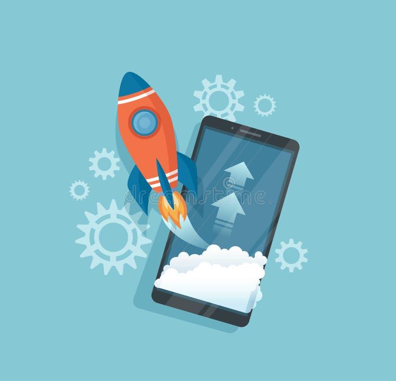 起始的概念 成功的项目企划想法开始,管理,创新战略 有发射的智能手机 皇族释放例证