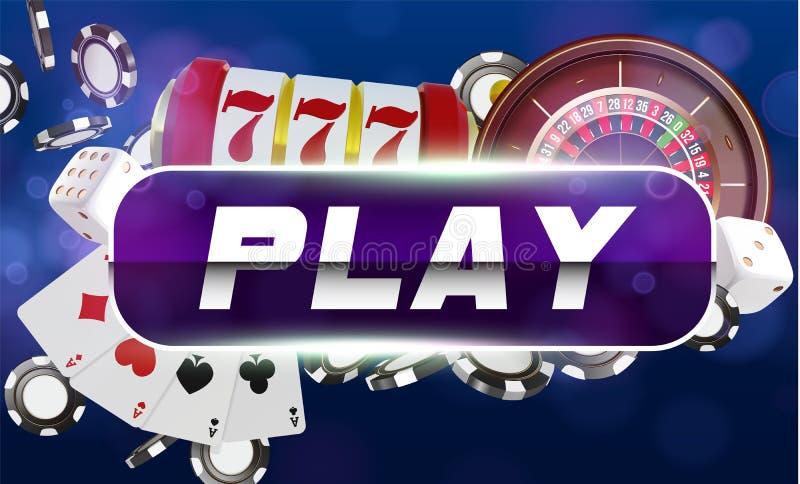 赌博娱乐场戏剧按钮背景 赌博娱乐场纸牌、模子和芯片 网上赌博娱乐场啤牌构思设计 3d向量 皇族释放例证