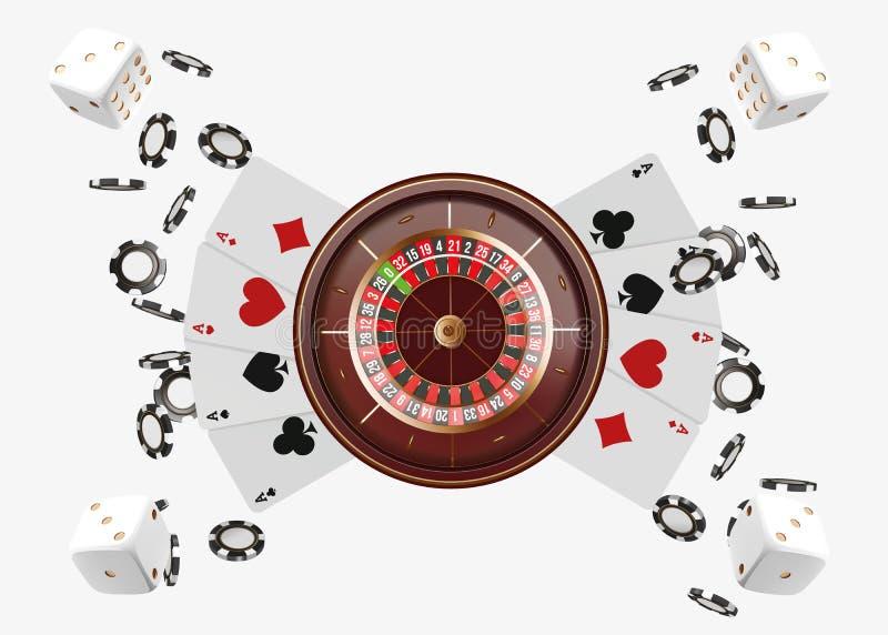 赌博娱乐场背景有纸牌、模子和芯片的轮盘赌的赌轮 网上赌博娱乐场啤牌桌构思设计 顶视图 皇族释放例证