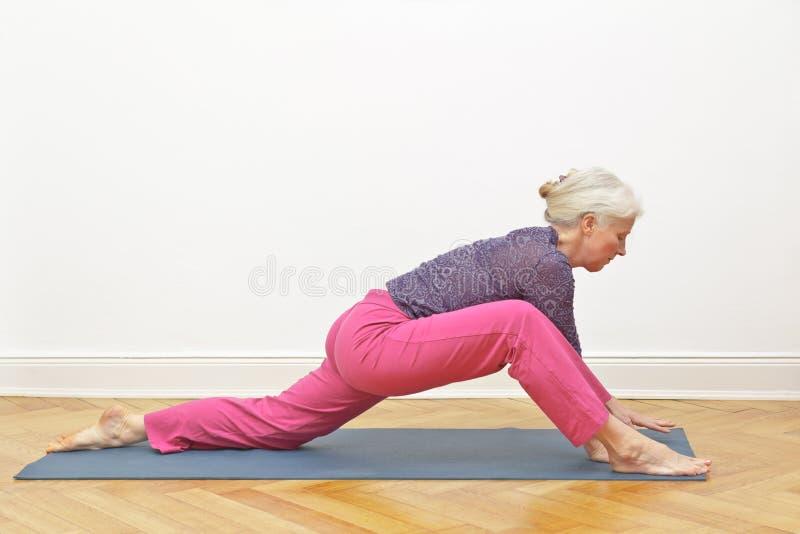 资深女子瑜伽锻炼龙 库存图片