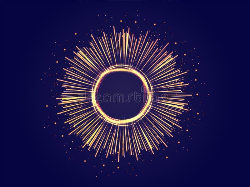 超空间行动或涌现的数字光芒抽象背景 库存例证