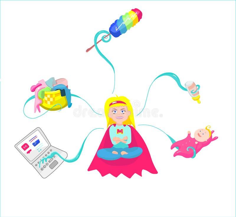 超级妈妈-有婴孩、工作等等的母亲 库存例证