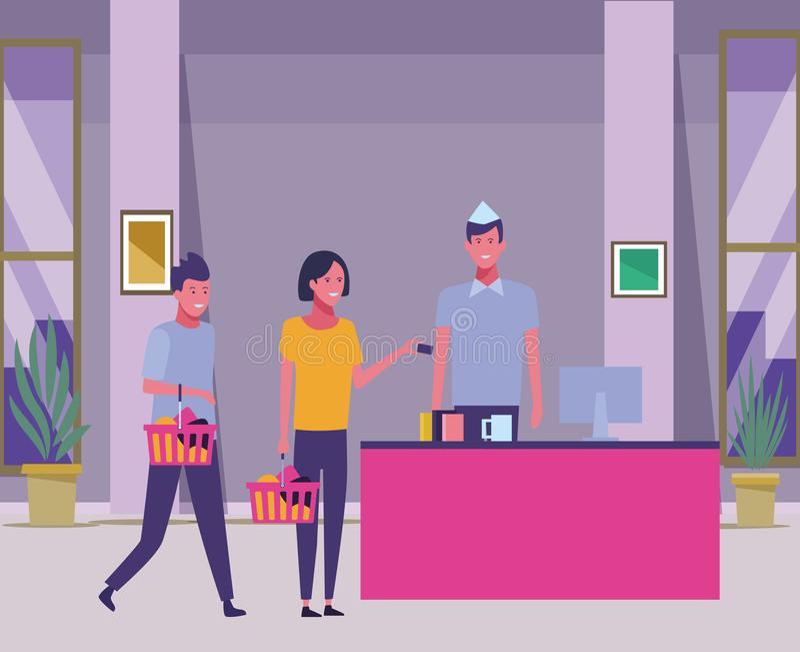 超级市场现金和顾客有手提篮的 向量例证