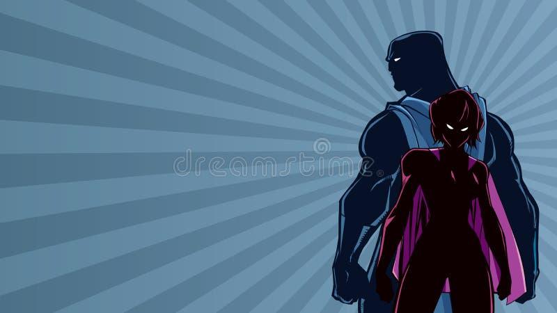 超级英雄夫妇发出光线光剪影 向量例证