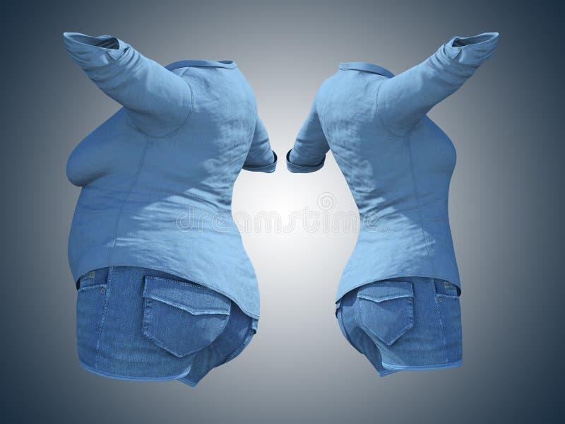 超重肥胖女性牛仔裤衬衣对在减肥或饮食稀薄的年轻女人以后的亭亭玉立的适合的身体健康蓝色的 库存例证