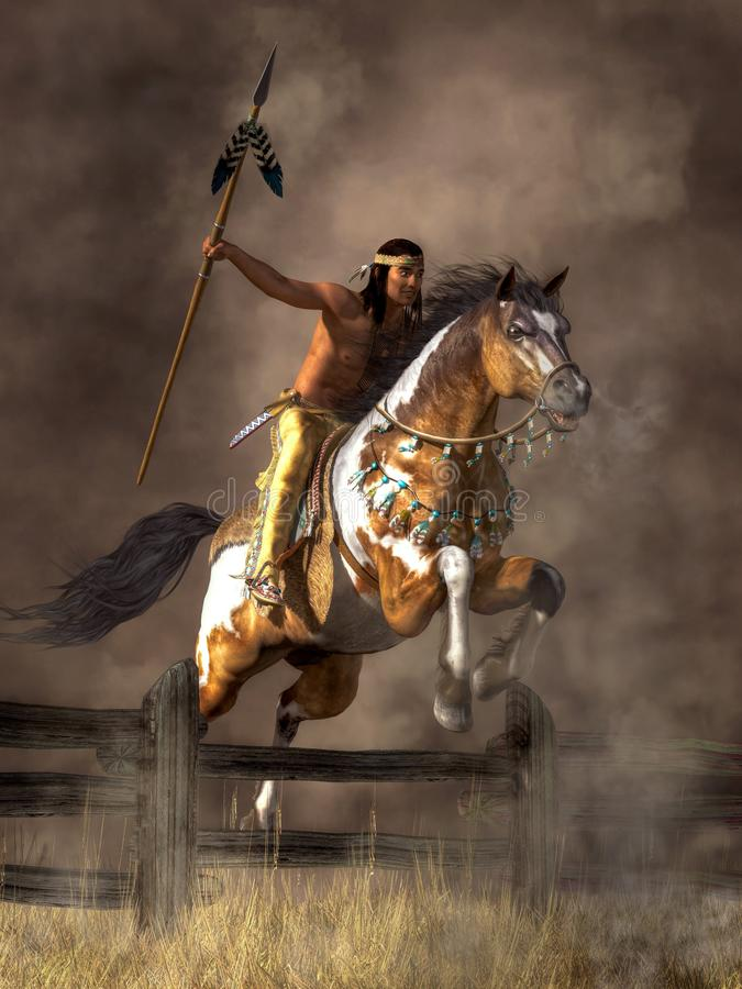 跳跃的马的战士 向量例证