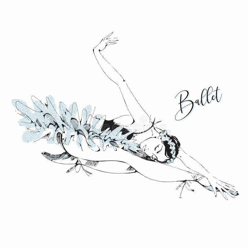 跳芭蕾舞者白色天鹅 Swan lake 向量 向量例证