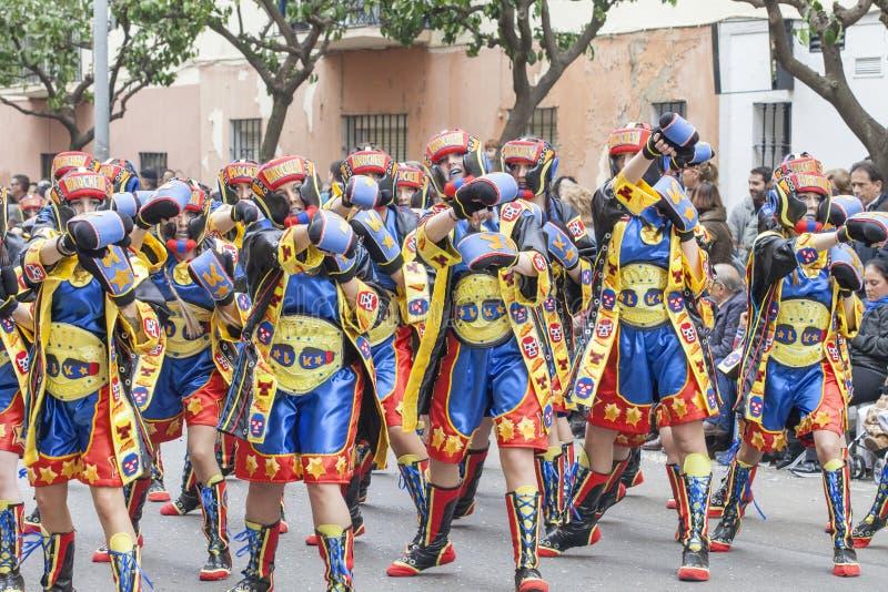 跳舞在狂欢节的拳击手 库存图片