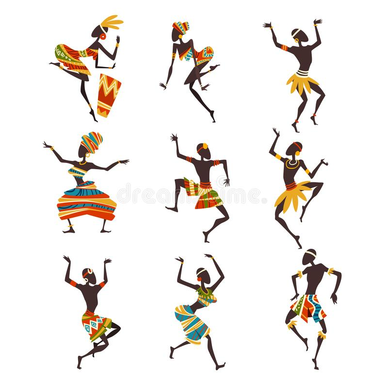 跳舞民间或明亮的被装饰的种族衣物的非洲人民礼节舞集合,女性和男性原史舞蹈家 向量例证