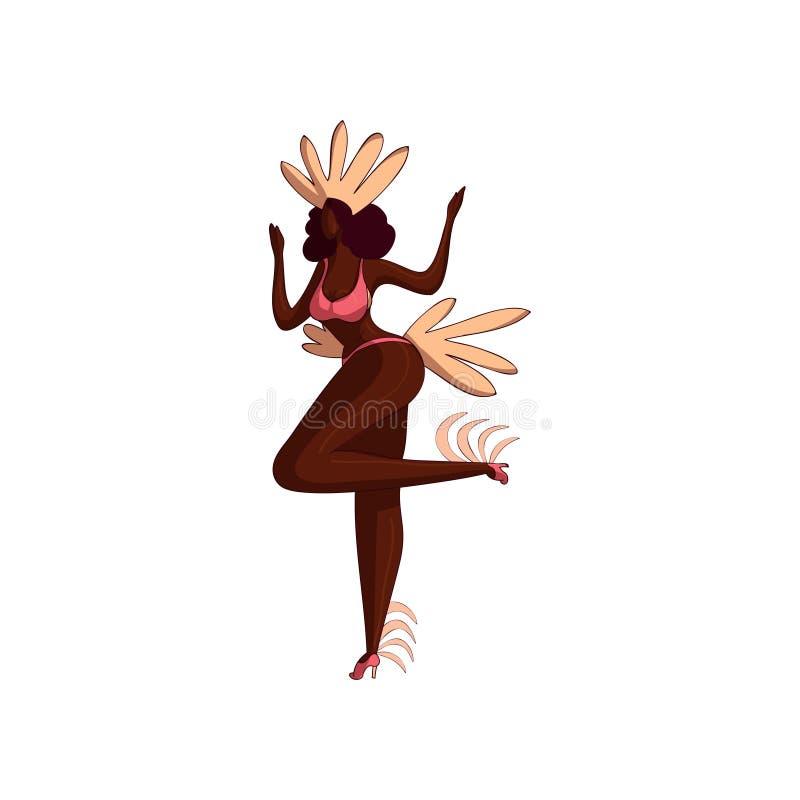 跳舞的行动的可爱的拉丁美州的女孩 比基尼泳装的与羽毛的妇女和头饰 桑巴舞蹈家 10个背景设计eps技术向量 向量例证