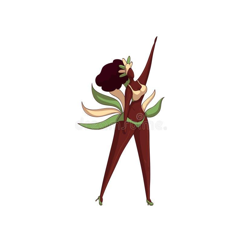 跳舞的行动的女孩 比基尼泳装的巴西妇女有羽毛的 背景漫画人物厚颜无耻的逗人喜爱的狗愉快的题头查出微笑白色 桑巴舞蹈家 10个背景设计eps技术向量 向量例证