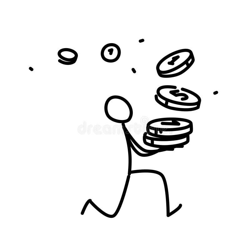 跑与硬币的一个小人的例证 向量 动画、表示法或者网站的例证 简单的等高 库存例证