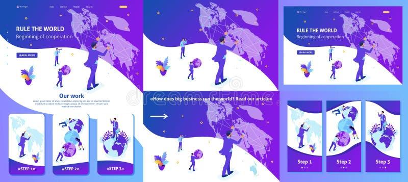 跑地图世界的等量商人 向量例证