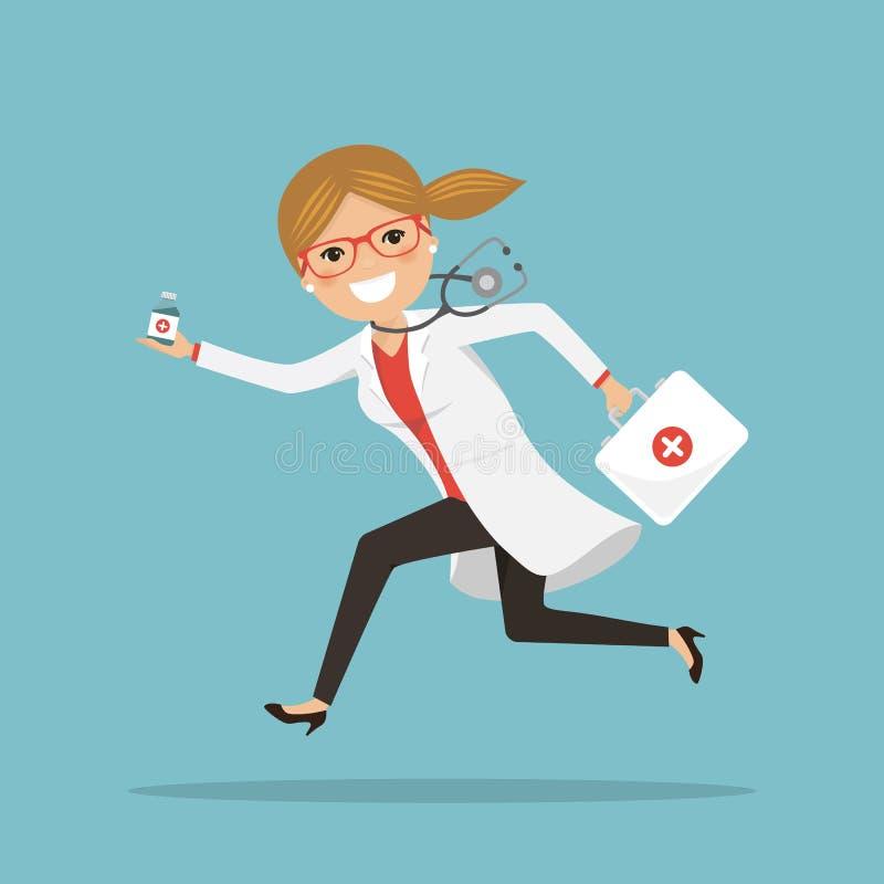 跑紧急女性的医生帮助与医学 医院场面 有听诊器和公文包的专家 皇族释放例证