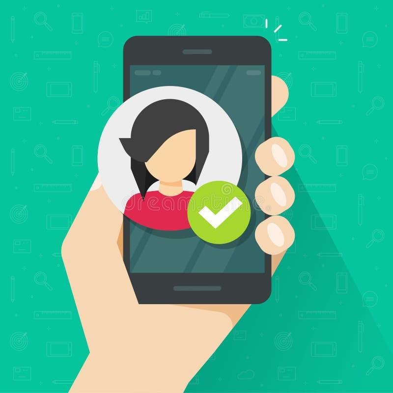 身分证明通过手机传染媒介例证,在智能手机,有字符的手机的平的被核实的人id 向量例证