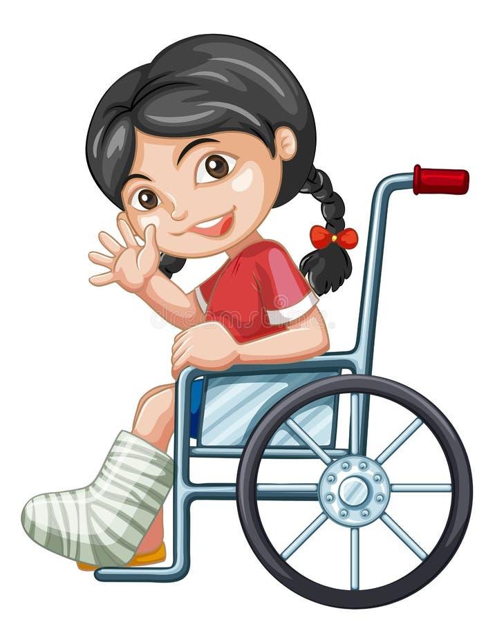 轮椅的受伤的女孩 皇族释放例证