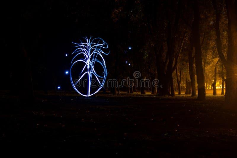 轻的绘画抽象图在用光做的森林心形的在晚上 库存图片