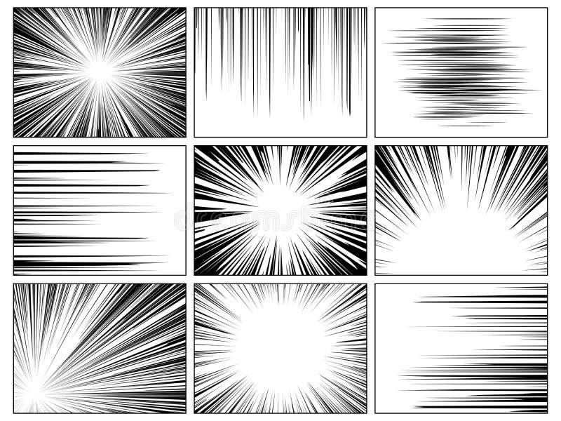 辐形漫画线 漫画速度水平线盖子速度纹理行动光芒爆炸英雄图画动画片集合 库存例证