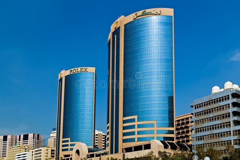 迪拜姊妹楼或劳力士塔位于迪拜东部,阿拉伯联合酋长国,在Deira 库存图片