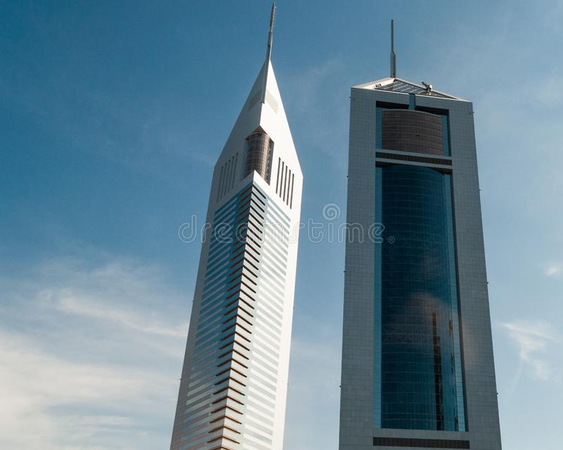迪拜的孪生skylscraper,阿拉伯联合酋长国 库存图片