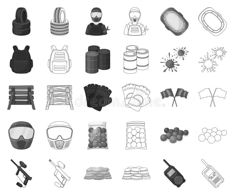迷彩漆弹运动,成队比赛黑白照片,在集合收藏的概述象的设计 设备和成套装备传染媒介标志股票网 皇族释放例证