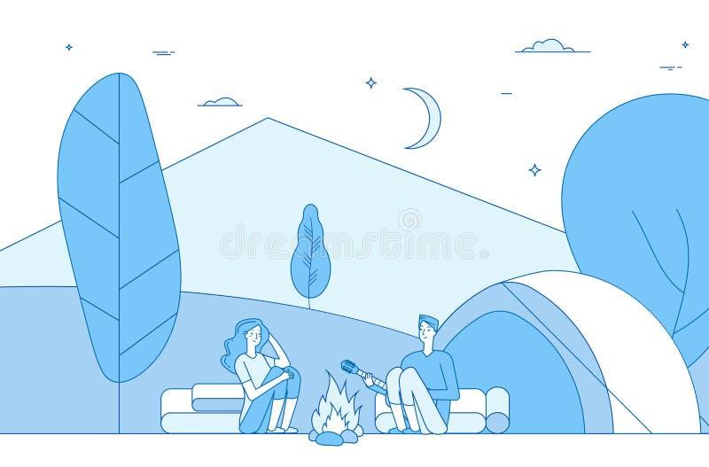 远足人野营 夏令营的游人 绊倒的家庭自然,露营车在度假 营火的人 向量 皇族释放例证