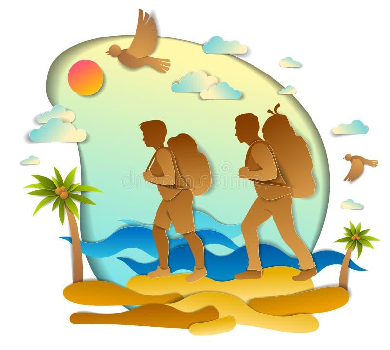 远足对与海海浪和棕榈、男朋友和女朋友,蜜月的狂放的海滩的活跃夫妇 向量例证 向量例证