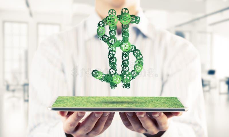 连接和网络概念作为金钱收入手段在白色办公室背景 库存照片