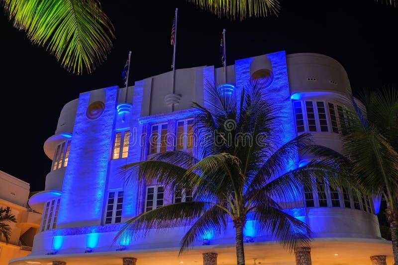 迈阿密海滩夜装饰艺术运动 图库摄影