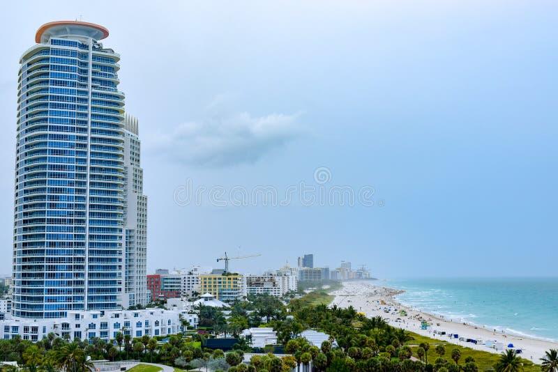 迈阿密海滩空中/寄生虫视图  库存照片