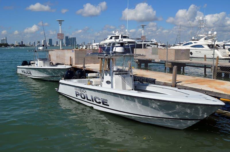 迈阿密海滩,佛罗里达警察巡逻艇 免版税库存照片
