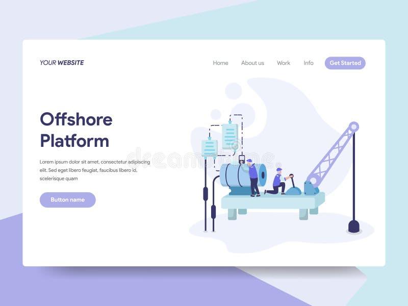 近海平台例证概念登陆的页模板  网页设计的等量平的设计观念网站的和 库存例证
