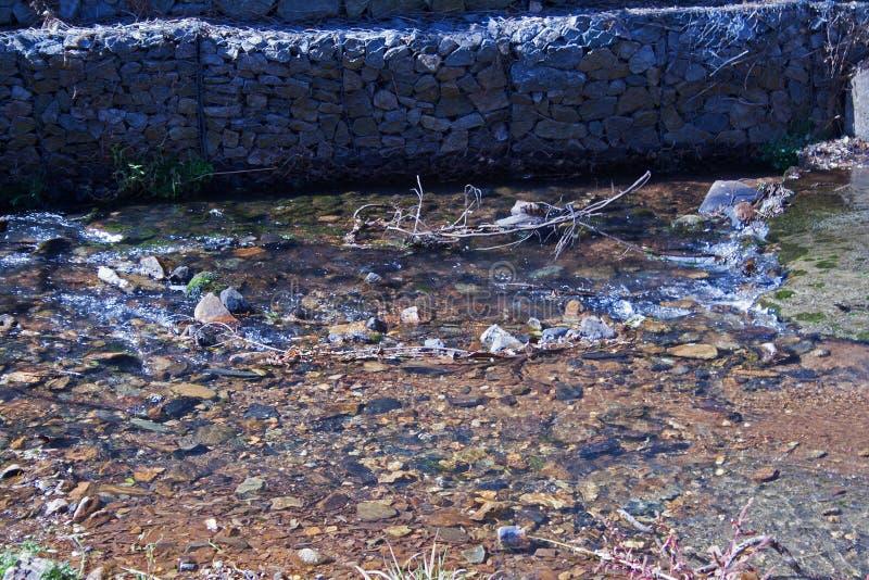 过滤刚烈墙壁的浅水区 库存照片