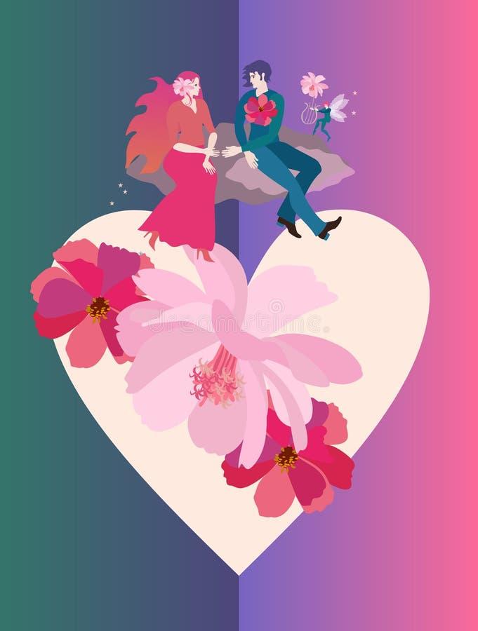 蜜月 年轻愉快的夫妇在巨大的心脏的云彩飞行,扭转与花 飞过的矮子弹里拉琴 婚姻 向量例证