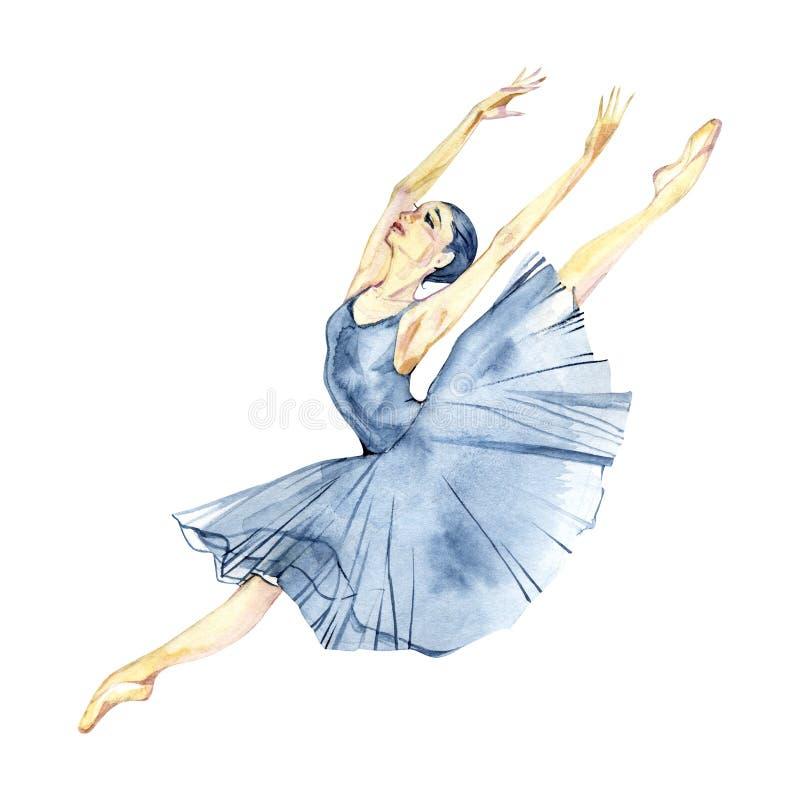 芭蕾舞女演员跳舞在白色背景贺卡隔绝的水彩绘画 皇族释放例证