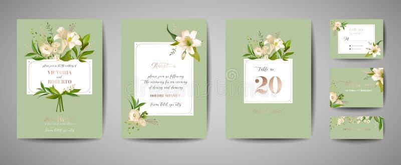 花卉婚姻的套卡片邀请,rsvp,谢谢,招待会,保存日期,模板设计,时髦盖子,图表海报 向量例证