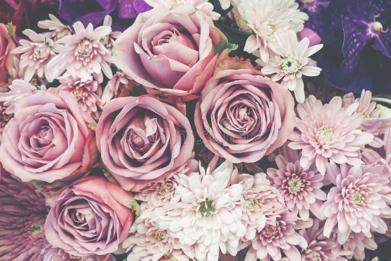 花卉背景,全部桃红色玫瑰背景 免版税图库摄影