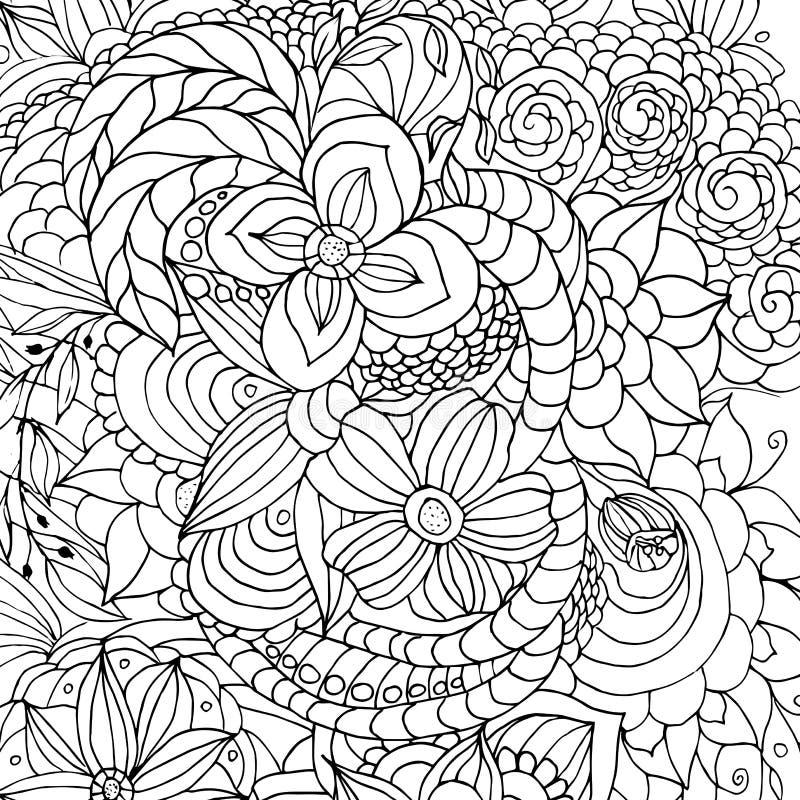 花和不同的乱画,卷毛,黑白图象,图表 库存例证