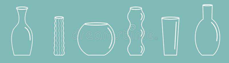 花瓶概述象集合线 陶瓷瓦器玻璃花装饰蓝色背景平的设计 库存例证
