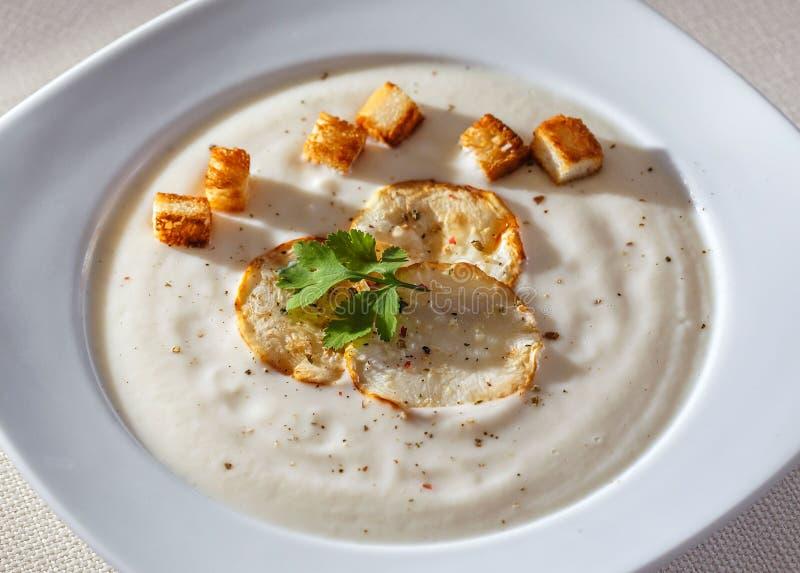 芹菜汤用油煎方型小面包片 免版税图库摄影