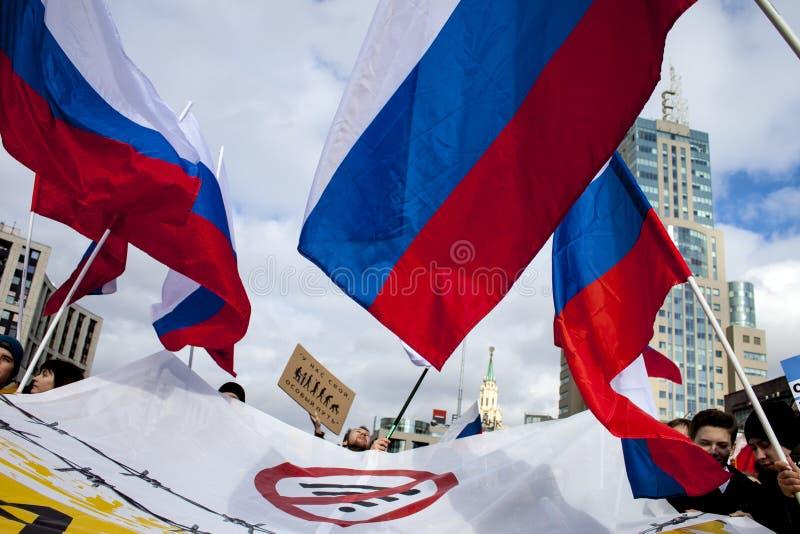 莫斯科,俄罗斯,- 2019年3月10日 集会需求互联网自由在俄罗斯 库存照片