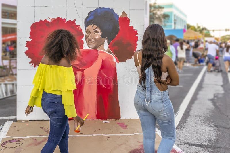 莱克沃思,佛罗里达,美国很好23-24,2019第25个每年街道绘画节日 库存照片