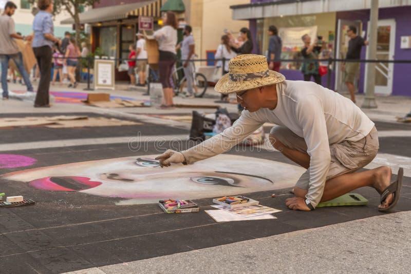 莱克沃思,佛罗里达,美国很好23-24,2019第25个每年街道绘画节日 免版税图库摄影