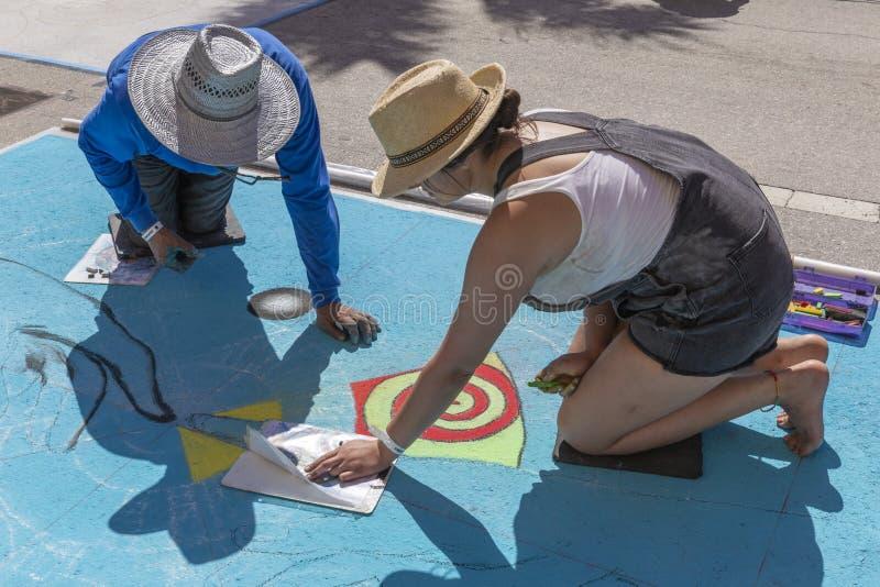 莱克沃思,佛罗里达,美国很好23-24,2019第25每年街道绘画费斯特 库存照片